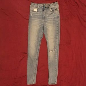 Denim high waisted skinny jeans size 24